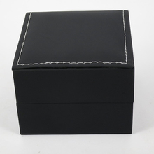 Luxury Watch Box Senior White Line Classic Leather Har Position boxes Ten Pillows Black button open Transparent surface box(China)