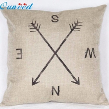 Top sale Hot Marketing New Compass Linen Throw Pillow Case Cushion Cover Home Decor 2017 s25(China)