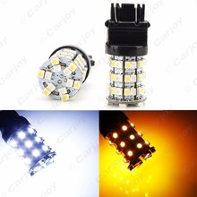 10PCS T20 T25 3157 60 SMD 1210 Chip White/Yellow Dual Color Switchback Turn Signal Car LED Light #CA1592