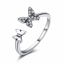 S925 pure silver jewelry sweet romantic wind small animal jewelry butterfly ring beautiful lady opening ring to the dance(China)