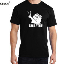 CbuCyi Farmer Mens T Shirt Funny Snail Yeah Cartoon Printed Cotton Short Sleeve Black White Humor Graphic Tee Shirt Homme