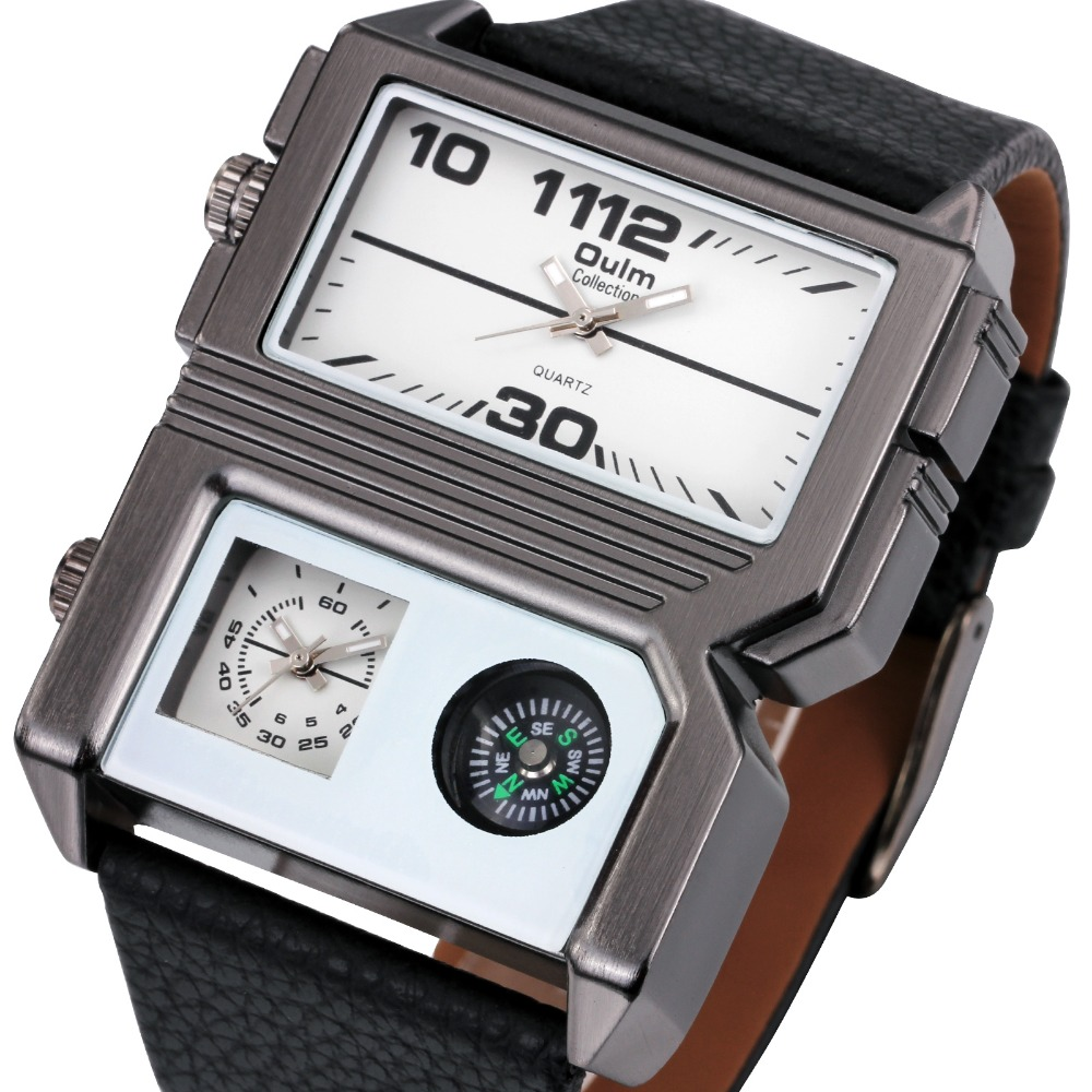 OULM 2016 Men Quartz Watch Rectangular Military Design Compass Dial 2 Time Zone Sport Watches for Men Soft Leather Band + Box<br><br>Aliexpress