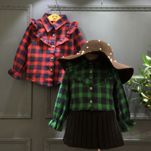 2016 New comfortable childrens baby girl clothing girls plaid tops blouses 100% cotton classic red/green plaid boys kids shirt