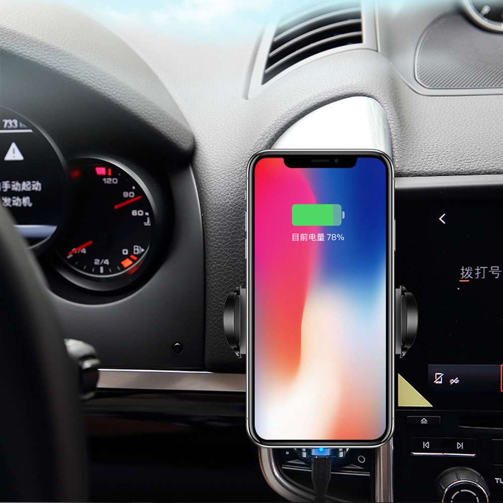Quality QI Wireless Charger Automatic Infrared Sensor Car auto holder 3