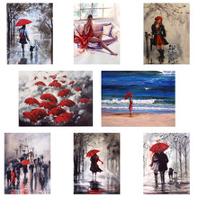 Red umbrella and  diy Diamond Painting mosaic pattern crystal Pasted Painting,picture rhinestones diamond embroidery HL399