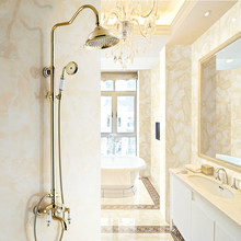 European Shower Set With Phone Style Arms 8 Inch Shower Head Antique Porcelain Brass Crystal Shower Faucet Gold/silver(China)