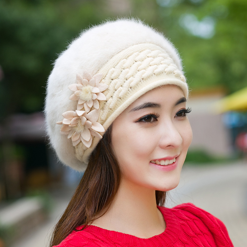 Hot New Female Autumn Winter Knitted Ladies Skullies Applique Soft Warm Solid Color Fluffy Plush Womens Beret Hat ElegantОдежда и ак�е��уары<br><br><br>Aliexpress