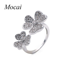 Fine Jewelry New Fashion Gold Color Filled Rhinestone Crystal Flower Rings Three Clovers Petal Jewellery For Women ZK35(China)