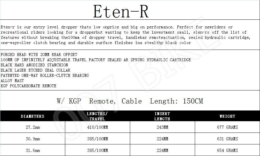 KS ETEN Remote Dropper Post 410//100mm 27.2mm