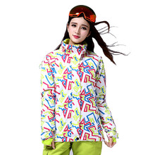 High Quality Stripped Ski Jacket for Women Snowboard Jacket Female Outdoor Camping Hiking Jacket Winter Thermal Coat Women(China)