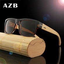 AZB 2017 New Retro Wood sunglasses men bamboo sunglasses Brand Original Wood Glasses Oculos de sol masculino(China)