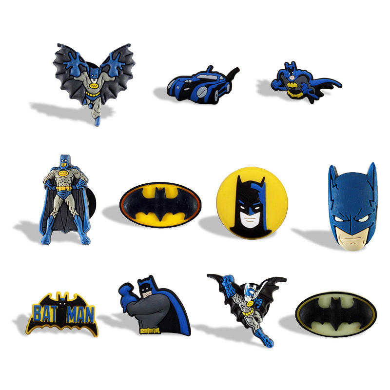 10PCS Batman Spider Man Mixed Cartoon PVC Fridge Magnets Kids Gifts Party Favor Home Decorate Fashion Jewelry Brooches(China (Mainland))