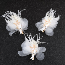 1pc Korean Style Handmade White Feathers Simulated Pearl Hair Clip Hairpin Jewelry Big Fork Bridal Wedding Modeling Accessories(China)