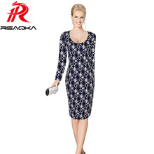 Reaqka 2017 Women Autumn Winter Elegant Vintage Long Sleeve Slim Wear To Work Office Casual Party Fitted Bodycon Plus Size Dress(China)