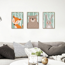 Modern Minimalist Cartoon Cute Animals A4 Art Posters Print Hippie Image Canvas Children's Baby Room Mural Painting Decoration