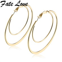 Buy Fate Love Extravagant Double Circle Flat Big Hoop Earrings S/M/L/XL Size Gold White Color Earring Woman Party Jewelry FL676 for $3.35 in AliExpress store