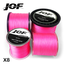 JOF PE Pink Braid Fishing Line 8 Strands 300M 500M 1000M Sea Fishing Weave Super Strong Threads(China)