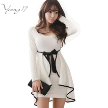 Young17 Sexy Ruffles Bodycon Dress South Korean Style White Women Dress Full Sleeve Autumn Spring Mini Dress Vestidos with Bow(China)