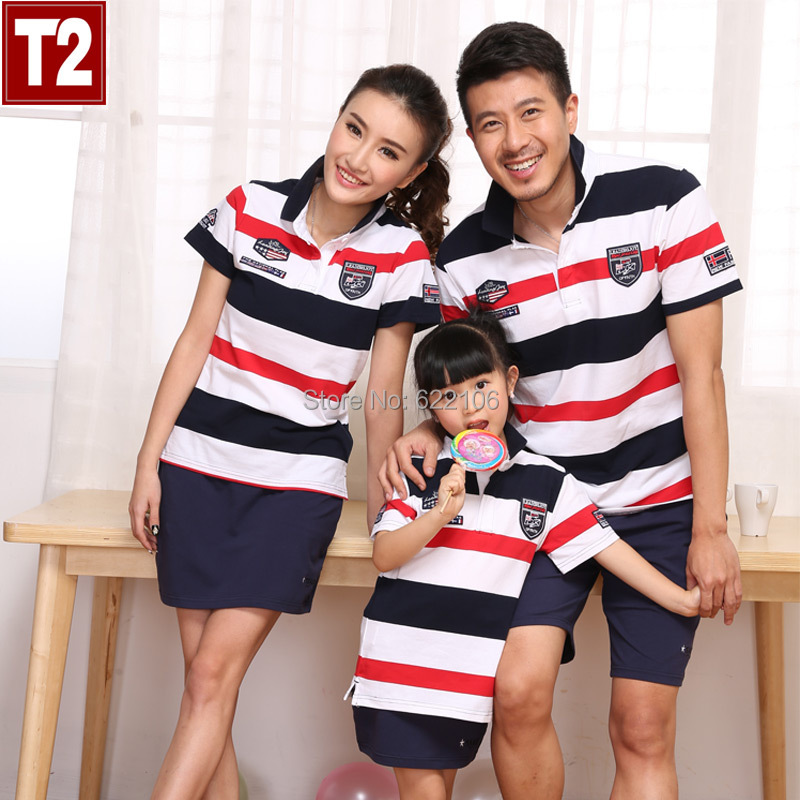 2015 Matching Father Mother Daughter Son Clothes Family Look Family Matching Clothes Polo Parent-child Outfit  Ma e Filha<br>