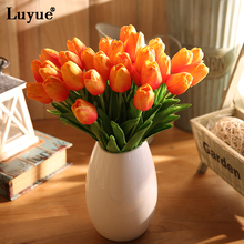 Luyue 21pcs/lot Wedding Decoration PU Artificial Bouquet Real Touch Flowers Tulip Fake Simulation Flower Home Decorative(China)