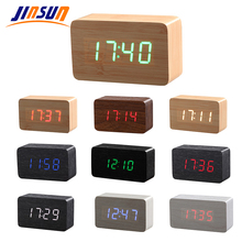 JINSUN Wood Bamboo LED Alarm Clock Reloj Despertador Modern Temperature Desk Clock LED Electronic Desktop Digital Table Clock(China)