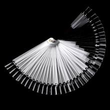 50Pcs/Lot Hot Selling Nails Tools White Transparent False Nail Art Tips Sticks Polish Display Fan Practice Tool Board