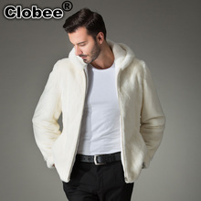 2017 6XL men faux mink coat Luxury thicken warm faux fur men's solid overcoats jackets Oversized loose coats with hood WR669