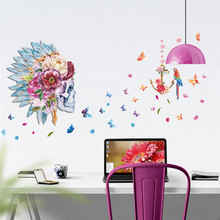 Fashion Skull flower head feather Butterfly Parrot Birds home decor living room Bedroom wall art decal wall sticker Feather