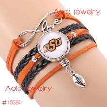 6Pcs/Lot NCAAF Oklahoma State Cowboys Glass Cabochons Bracelet College Football Team Bracelet New Bracelet Drop Shipping!(China)