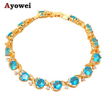 Noble Charm Bracelets for women New Brand design Gold tone Navy Blue Crystal Wholesale fashion jewelry TB672A