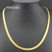 50/55/60cm,6mm, Stainless Steel Gold Color Flat Snake Necklaces Chain Mens Womens Jewelry 2017,Wholesale&Free Shipping KN020