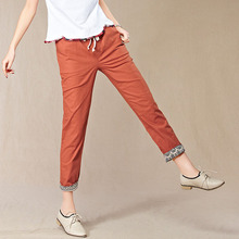 Hot Sale Women Casual Cotton Linen Pants Capris Elastic Waist OL Ladies Harem Trousers S-XXL free shipping Flanging Pants