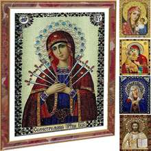 5d Picture Of Rhinestones Diamond Embroidery Religion DIY Diamond Painting Diamond Mosaic Resin round figure religious series(China)