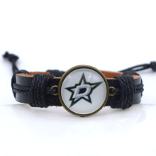 NHL Dallas Stars Charms Leather Bracelets Sports Ice Hockey Silk Bracelet Metal Bangle for Women Men Fashion 2017