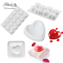4PCS Different Heart Pillow Love Shaped Silicone Molds Baking Non-Stick Dessert Cake Decorating Tools