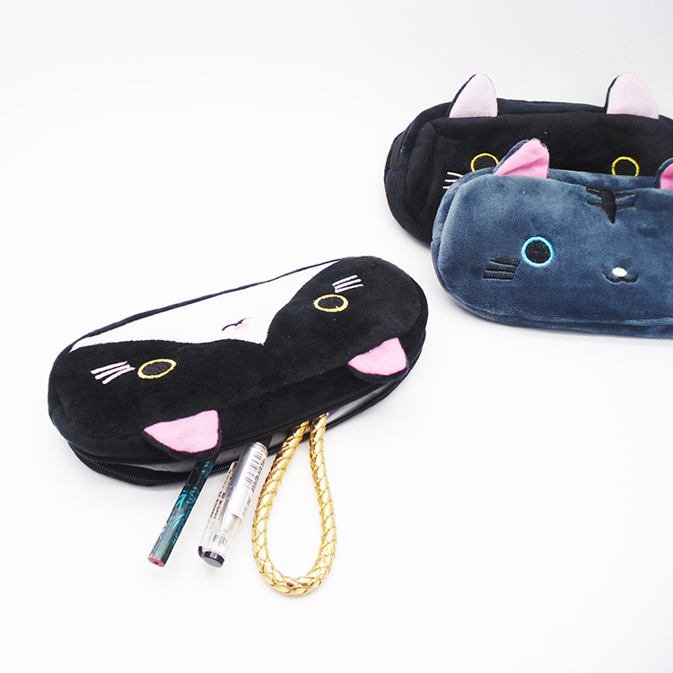 Plush Pencil Case School Supplies For Girls Stationery Office Cute Kawaii Cartoon Cat Pen Bag pouch kits Kids Gift Makeup bag (3)