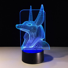 1Piece 7Colors Change Egypt Anubis 3D Bulbing Lamp Illusion Colors Changing Desk Light With Black Touch Base Decor Night Light
