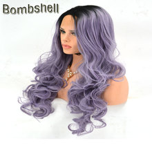 Bombshell Black Roots Ombre Lavender Purple Body Wave Synthetic Lace Front Wig High Heat Temperature Fiber For White Black Women