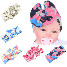 Fashion Headband for Girls Soft Cotton Camouflage Prints Elastic Big Hair Band Cross Bows Girls Hair Acessories Bow headwrap
