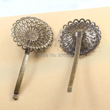37mm Blank Bobby Pins Bases Settings Filigree Hollow Circle Flower pads Hair Clip Hairpins Crafts Findings Antique bronze tone
