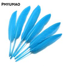 Brand FEATHER#12pcs Natural Light blue Goose Feather Best Price BIG Promotion 8-15cm Decoration Wedding DIY Material Accessories(China)