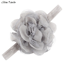 Kids Hair Accessories Girls Hair Elastic Lace Chiffon Artificial Flowers Peony Fita De Cetim Flores #2174