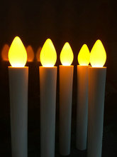 36pcs/lot Flameless Battery Operated Wax Dipped LED Taper Candle light Christmas/Church/wedding/home party decor 17.5CM-Amber