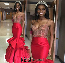 Inexpensive 2016 Red Mermaid Prom Dresses Vestido De Festa Beaded Bodice Slim Fitted Satin Ruffles Court Train Evening Gowns