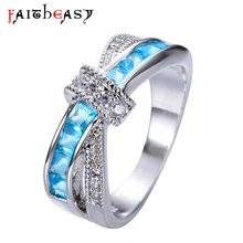 Faitheasy Punk Vintage Blue Crystal Silver Rings for Women CZ Accessories Wholesale China(China)
