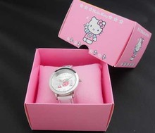 Hello Kitty watches girl KT cat square children watch free shipping in box 1pcs/lot