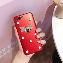 Brand Fashion China Red Bee beryl Rhinestone Pearls Soft TPU Back Skinny Cover Case For iphone6s 7/7plus body Protection