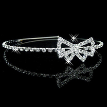 New Arrival Wedding Party Bridesmaid Flower Girl Rhinestone Bowknot Crown Headband Tiara