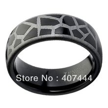 Free Shipping High Polished Domed Designer Laser Engraved Giraffe Pattern Black Tungsten Carbide Comfort Fit Wedding Band Ring