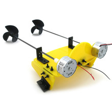 DIY Handmade Toy Boat Kit Electric Two Motor Propeller Power Driven Remote Control Boat RC Model(China)